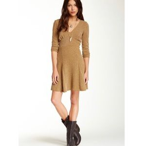 FREE PEOPLE Heartstopper Golden Brown Knit Dress